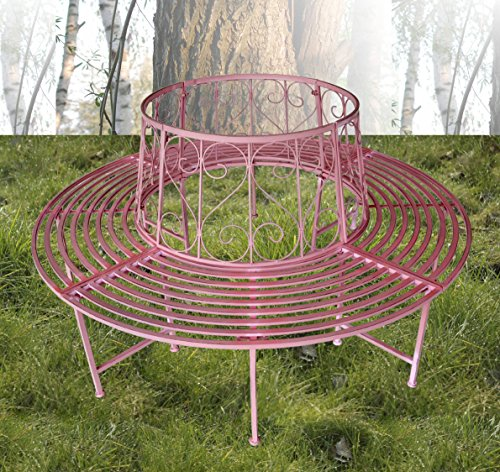 Baumbank Bank Schmiedeeisen pink Rundbank 360° Ø 161cm Gartenmöbel Gartenbank - 2