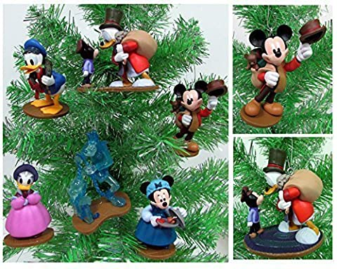 MICKEY'S CHRISTMAS CAROL 6 Piece Christmas Tree Ornament Set With Bob Cratchit, Emily Cratchit, Ebenezer Scrooge, Tiny Tim, Jacob Marley's Ghost, Fred and Isabelle by Mickey's Christmas Carol