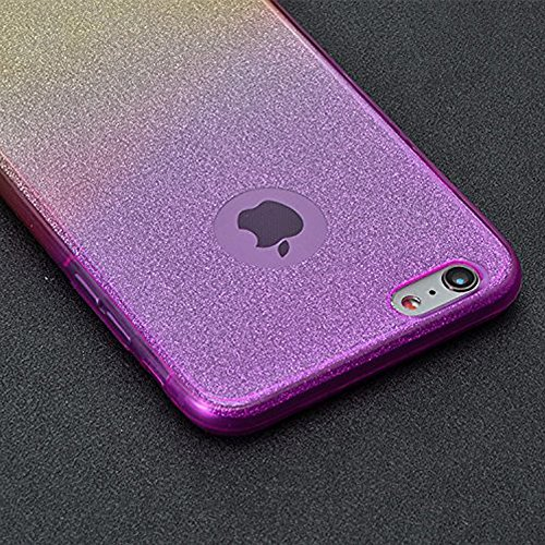 Sunroyal Gold Coque iPhone 8 / iPhone 7 Gel 360 Protection INTEGRAL Silicone Gradient Case,Transparent Etui TPU Coque 360 Degres Anti Choc ,3 en 1 Etui Ultra Mince Coque rigide+border Souple en Silico Violet & Jaune