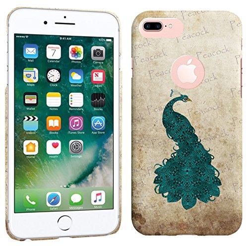 iPhone 7Plus Fall/iPhone 8Plus Fall-Vintage Blaugrün Hart Pfau Kunststoff Back Cover. Slim Profil Cute Bedruckt Designer Schutzhülle Zum Aufstecken von Glisten (Kunststoff-maske Form)