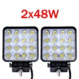 Nestling®2 X 48W LED Headlights Work & Backup Lamp LED Lamp 12V 24V Floodlight Reflector Headlight Work Light SUV, UTV, ATV Offroad worklight auxiliary lights