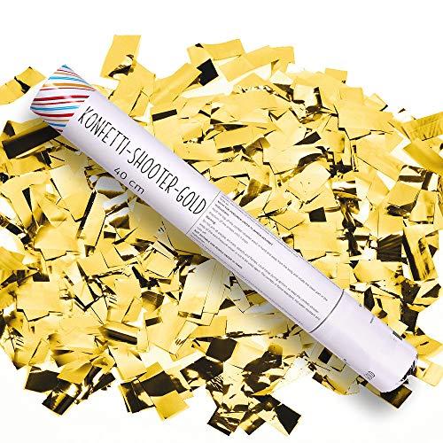 Preisvergleich Produktbild Schramm® 12 Stück Konfetti Shooter Gold 40cm Konfetti Popper Kanone Kanonen Party Sylvester Geburtstag Hochzeit 12er Pack