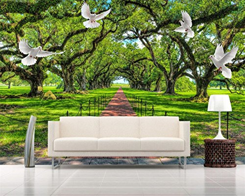 ShAH Benutzerdefiniertes Hintergrundbild Natürlichen Grünen Landschaft Baum Gehweg Weiße Taube Wandbild 3D Wallpaper 3D Tapete Hintergrundbild Wallpaper Wandmalerei Fresko Mural 150cmX100cm (Drucker 2022)