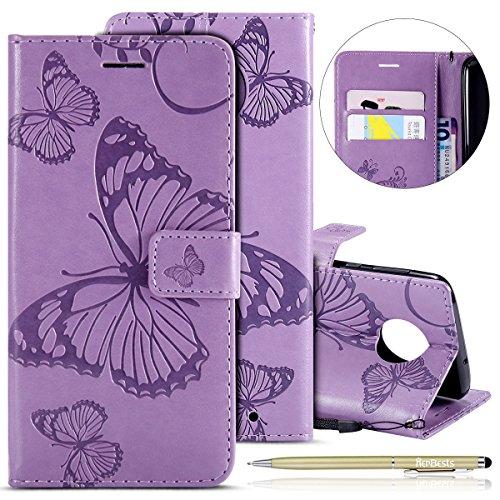 Herbests Kompatibel mit Leder Handy Schutzhülle Moto G6 Plus 2018 Lederhülle Schmetterling Muster Leder Handyhülle Handytasche Brieftasche Ledertasche Bookstyle Flip Case Cover Klapphülle,lila