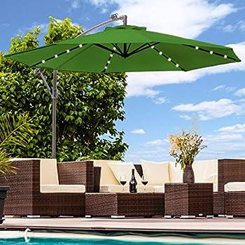 luxus sonnenschirm mit led beleuchtung ampelschirm 300 cm solar garten schirm. Black Bedroom Furniture Sets. Home Design Ideas