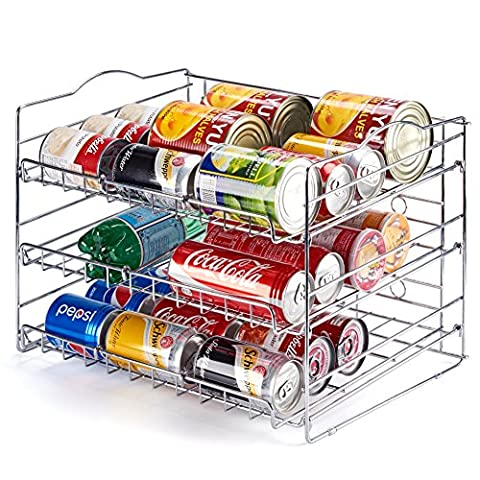EZOWare 3-layer Can Food Kitchen Rack Organizer for Pantry Shelf, Kitchen Cabinet, Countertop, Chrome