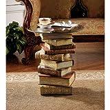 Design Toscano Die Kraft der Bücher Vintage-Dekor Beistelltisch aus gestapelten Büchern mit Glasplatte, Polyresin, Vollfarbe, 53,25 cm