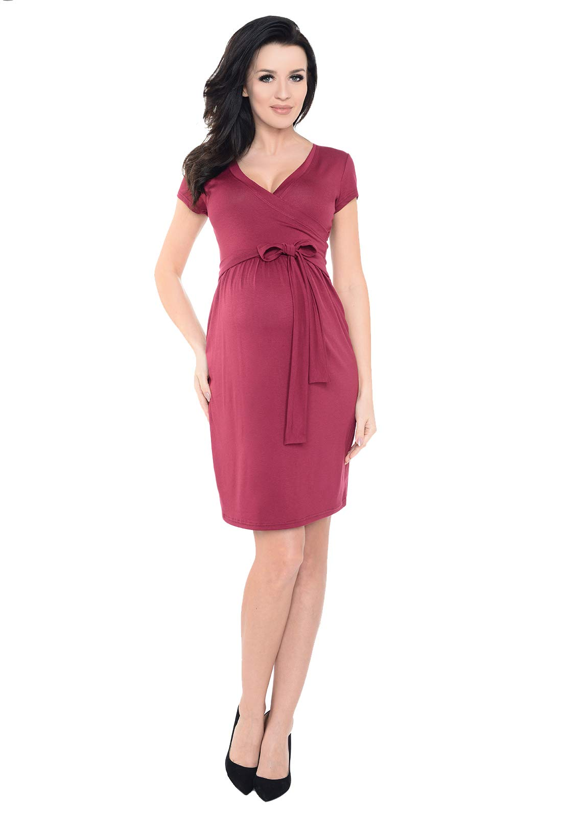 f13042075a7b55 Purpless Maternity Cocktail V Neck Pregnancy Dress with Belt 5416 ...