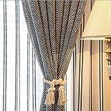 Vankra Baumwollseile für Vorhänge, 2Stück, natürlich, 80 cm, im europäischen Landhaus-Stil, mit Quaste Cremefarben/Weiß