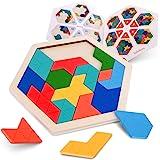 Coogam Puzzle en Bois pour Enfants - Forme hexagonale Motif Tetris Bloc Tangram Logic IQ Jeu STEM Montessori Casse-tête Jouet