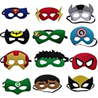 FDF Set of 12 Superhero Felt Eyemasks birthday return gift party prop | Multicolor