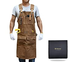 BRITEREE Work Apron with 9 Tool Pockets, Woodworking Apron with Durable Waxed Canvas, Tool Apron Gift for Men Carpenters