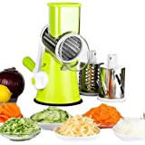 yueyang Mandolines Multifonctions à légumes Coupe-Légumes Manuel avec 3 Lames Cylindriques en Acier Ioxydable Râpe à Fromage