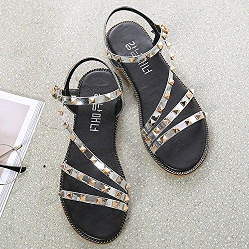 Oasap Women's Open Toe Rivet Buckle Flat Sandals Black
