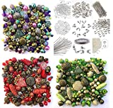 Approx 1200 Jewellery Beads includes 3 x sets of Green, Red & Purple Jewellery Making Mixed Beads & Silver Findings