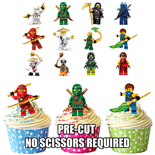 prédécoupés Lego Ninjago- comestible pour cupcakes/gâteau Décorations (lot de 12)
