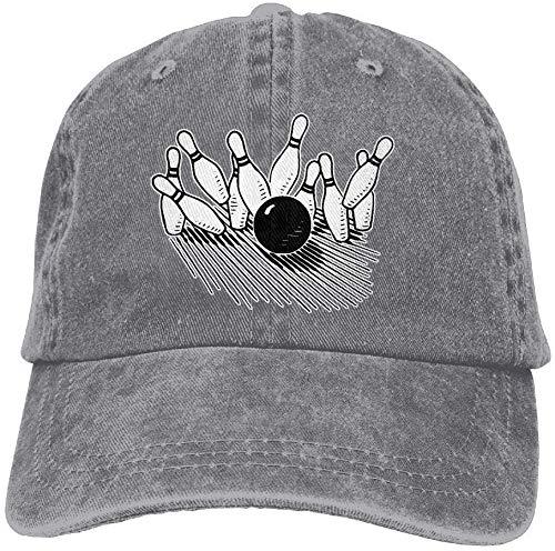 fenrris65 Unisex Baseball Cap Cotton Denim Hat Bowling Ball Striking Bowling Pin Adjustable Snapback Sun Hat