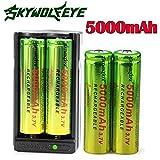 Li-ion battery, HUI.HUI 4PCS 3.7v 5000mAh 18650 Nachladbare Litium-ionen batterie + Batterie Doppelte Ladegerät (A)