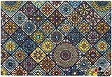 matches21 Fußmatte Fußabstreifer Essence Marokko Fliesen Mosaik blau/orange 40x60x0,5 cm Rutschfest maschinenwaschbar