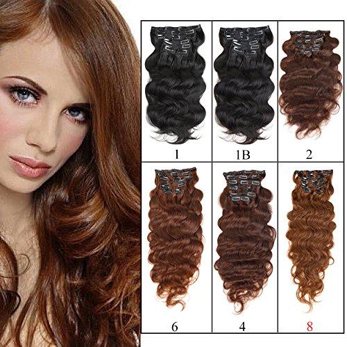 viviabella Frêne marron double trame Extensions cheveux ondulés à clipser en cheveux humains 7 160 g 45,7 cm -28 \\