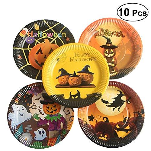 Amosfun Halloween Einweg Pappteller Dekor Essen Platten für Party Festival 10 stücke
