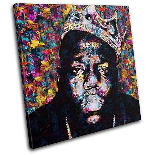 Bold Bloc Design - Notorious BIG Biggie Iconic Celebrities 90x90cm SINGLE Leinwand Kunstdruck Box gerahmte Bild Wand hangen - handgefertigt In Grossbritannien - gerahmt und bereit zum Aufhangen - Canvas Art Print - Print Art Canvas