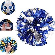 hunpta 2pcs aluminio y plástico anillo animadora pompones pelotas, color azul y plateado, azul