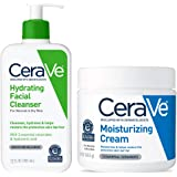 (Cleanser/Moisturising Cream) - CeraVe Daily Skin Care Set for Dry Skin Contains CeraVe Moisturising Cream and Hydrating Face