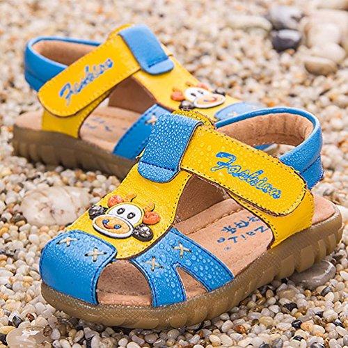 Sandali Bambina Punta Chiusa - Scarpe Primi Passi Bimba Con Animalier Giallo Blu