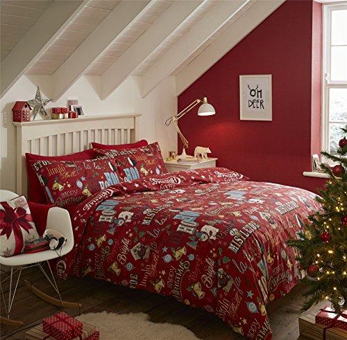 Newsbenessere.com 61BaE23fE7L Christmas Jingle Bells Stars palline rosso cotone spazzolato copripiumino matrimoniale