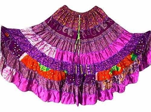 9 Yard Tribal Gypsy Maxi Tiered Rock Bauchtanz Röcke Silk Blend Banjara Passend für S M L 396