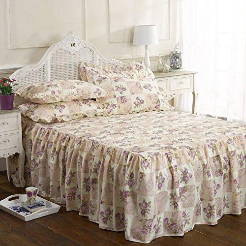 Vintage traditional Luxuriöse summer king size Bett gesteppt set ausgestattet mit Rüschen Tagesdecke alston cremefarben, Violett floral Rosen-Motiv - Tagesdecke Ausgestattet