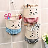 Midmade Linen Cotton Fabric Wall Hanging Storage Organizer Bag Set Square Pouch