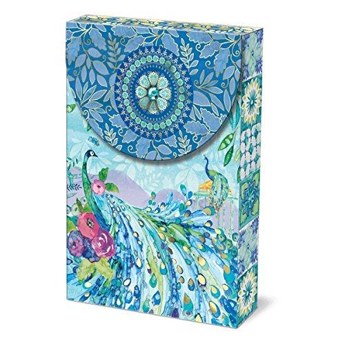 Punch Studio Dekobeutel Notizkarten 10 Stück Padoga, Pfau blau -