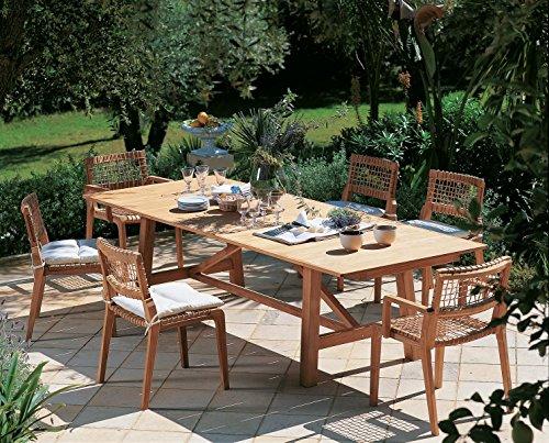 Dafnedesign. COM – Table de Jardin en Teck – Dimensions cm 230 x 100 H73 – Table rectangulaire Extensible de Synthesis cm 100 x 230 à cm 100 x 300 de Teck