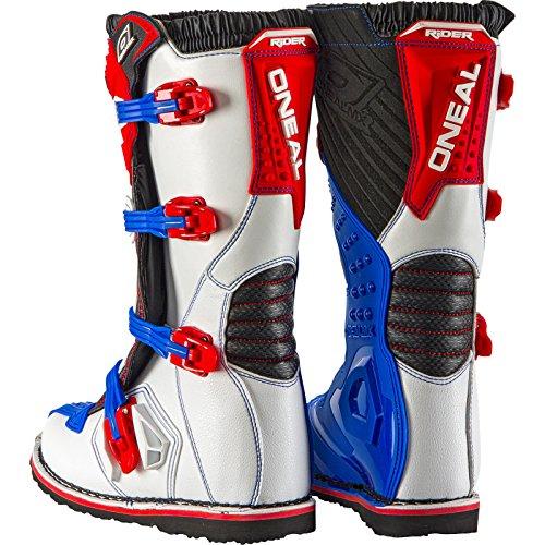 O'Neal Rider Boot MX Cross Stiefel Blau Rot Weiß Motorrad Enduro Motocross Offroad, 0329-7, Größe 44 - 2