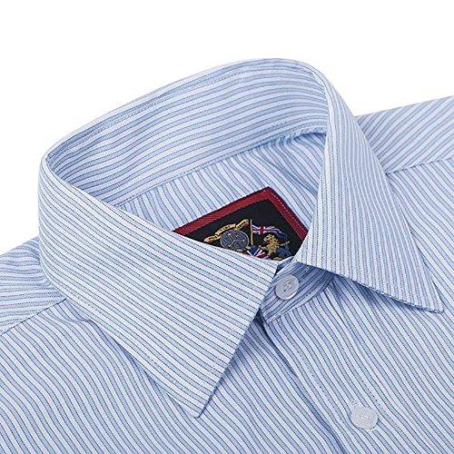 Janeo British Apparel di marca, Classic Windsor belle uomo camicia a righe, singolo e doppio polsino manica–Janeo mens Shirts Sky Blue (Double Cuff)