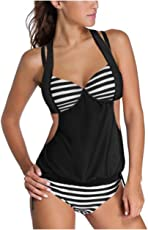 Kaamastra Women's 2pcs Solid Splice Striped Halter Tankini Swimsuit LC41944_Black_Freesize
