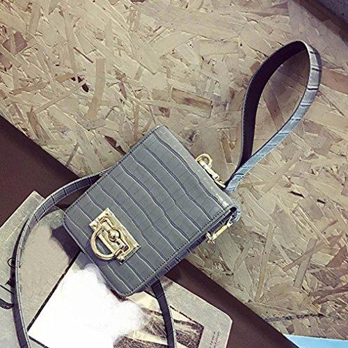 Moda Donne Pu Borsa In Pelle Borsa Spalla Messenger Grande Tote Leather Signore Borsa di Kangrunmy Grigio
