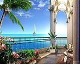 Lqwx Grand Fond D'Écran 3D Hd Chambre Avec Vue Sur La Mer Balcon Cocotier De Mer Photo Dans Photo Papier Peint Décoration Papel De Parede-430Cmx300Cm