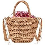 shuangklei Mini Weave Bucket Bag Beach Beach Retro Totes Casual Bolsa De Hombro Bolso De Lino Lady Small Drawstring Messenger