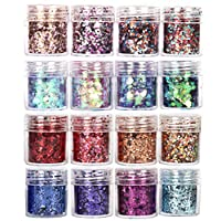 GCOA Face Glitter Chunky Glitters - Sequins Iridescent Flakes Colorful Mixed Paillette Makeup Face Body Hair Nail Art Decoration(10ml)