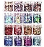 GCOA Set di polvere glitter per unghie, Glitter Cosmetici Lustrini 3D Brillantini Decorazioni per Ombretto,Trucco, Nail Art, 16 colori assortiti