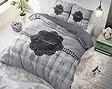 Bettwäsche Sleeptime Gute Nacht, 200cm x 200cm, Mit 2 Kissenbezüge 80cm x 80cm, Grau