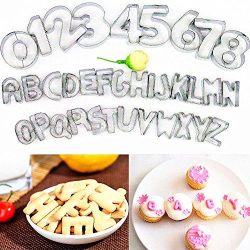 MOOKOO 35 Stück mit Zahlen und Buchstaben Backen Keks Ausstecher Edelstahl Ausstechform,Cake Backzubehör Kuchendekoration Ausstechformen Backform Utensilien Modellierwerkzeug (SIZE1)
