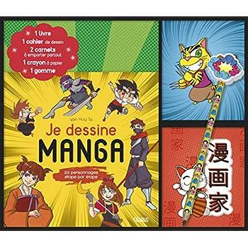 Je dessine manga : Coffret avec 1 livre, 1 cahier de dessin, 2 carnets à emporter partout, 1 crayon à papier et 1 gomme