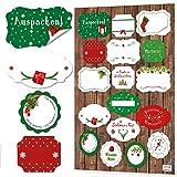 NEU 2018: 34 Weihnachtsaufkleber Aufkleber FROHE WEIHNACHTEN grün rot weiß Geschenkaufkleber Sticker Verpackung Weihnachtsgeschenke Geschenkverpackung Weihnachten Namensaufkleber