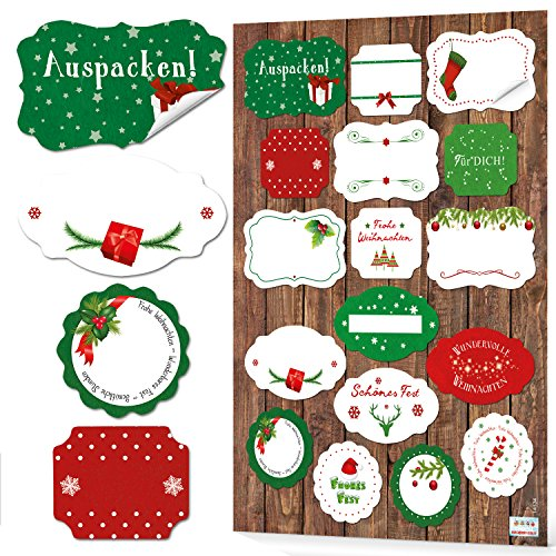 Nuovo 2018: 34 adesivi natalizi frohe weihnachten verde rosso bianco adesivi regalo confezione regalo regalo natale adesivo nome