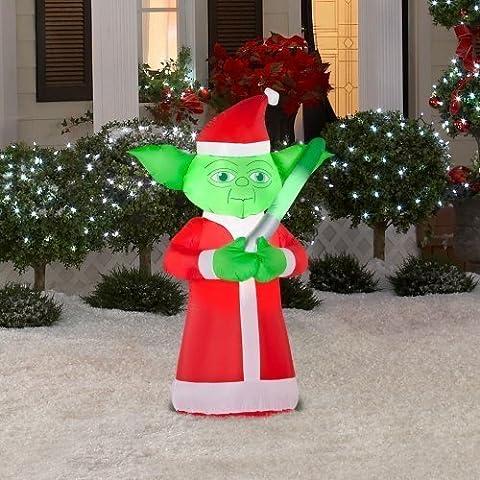 Weihnachten Dekoration Rasen Yard aufblasbar Airblown Star Wars Yoda in Santa Anzug 3,5'Hoch