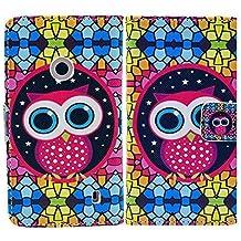Nokia Lumia 520 PU-LEATHER NIGHT OWL protección-móvil casos Flip Cover thematys®